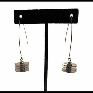 Artisan | Silver 'Floating Disks' Drop Earrings